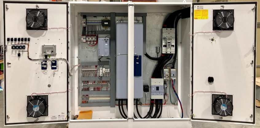 Photo of open Variable Frequency Drive (VFD) Panel